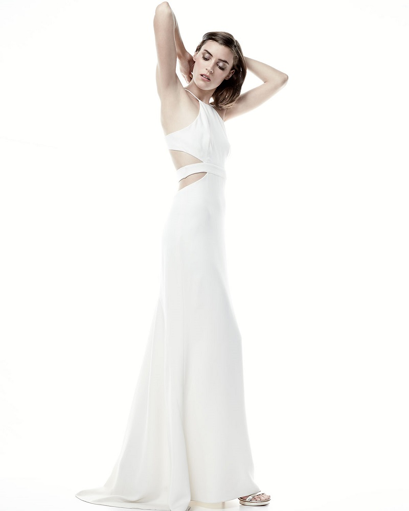 Halston Heritage Halter Back-Cutout Cocktail Gown-
