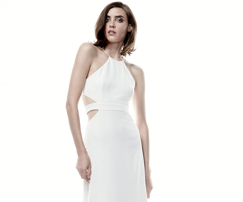 Halston Heritage Halter Back-Cutout Cocktail Gown