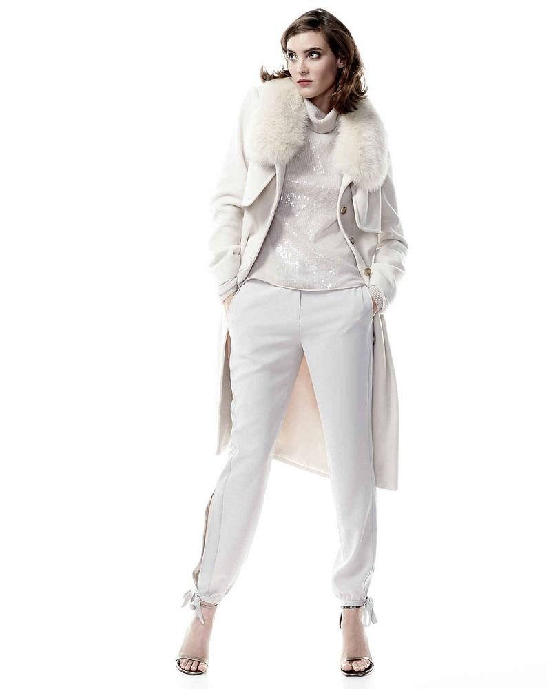 Halston Heritage Long Coat with Fur Collar