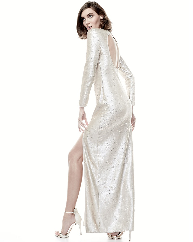 Halston Heritage Long-Sleeve Sequined Column Gown-
