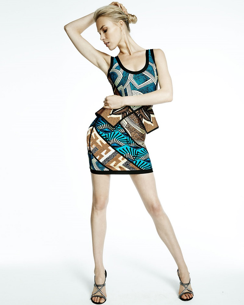Herve Leger Geometric-Print Peplum Bandage Dress
