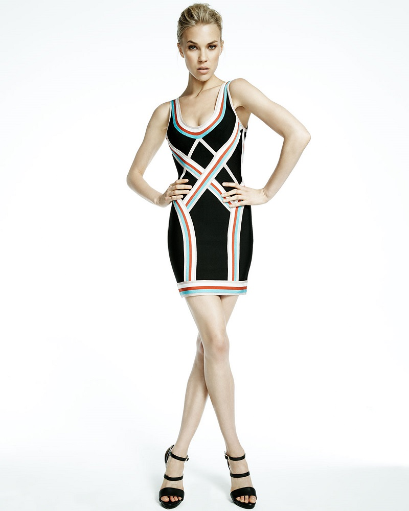 Herve Leger Scoop-Neck Athletic Striped Dress