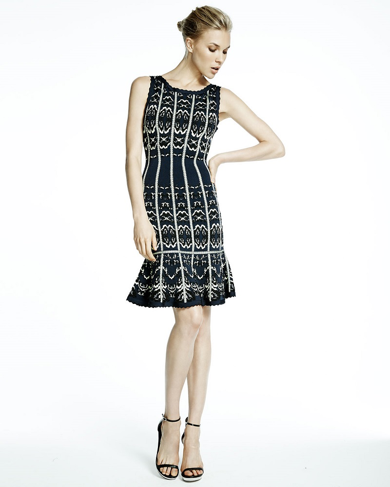 Herve Leger Sleeveless Fit-&-Flare Dress