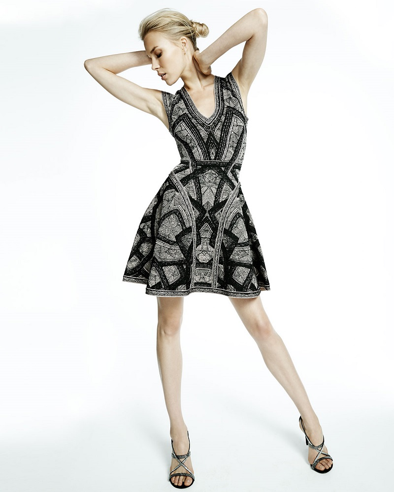Herve Leger Sleeveless Jacquard Flounce Dress