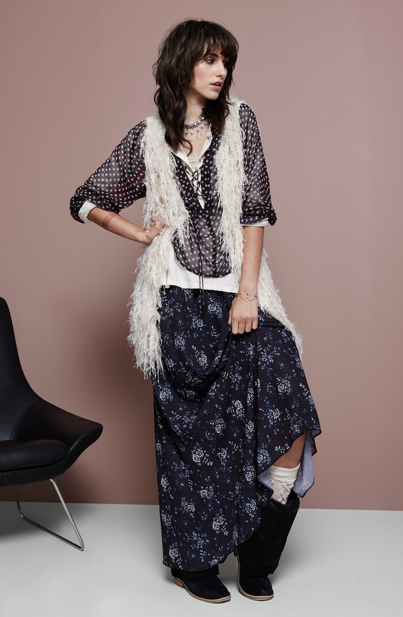 Hinge Floral Print Maxi Skirt