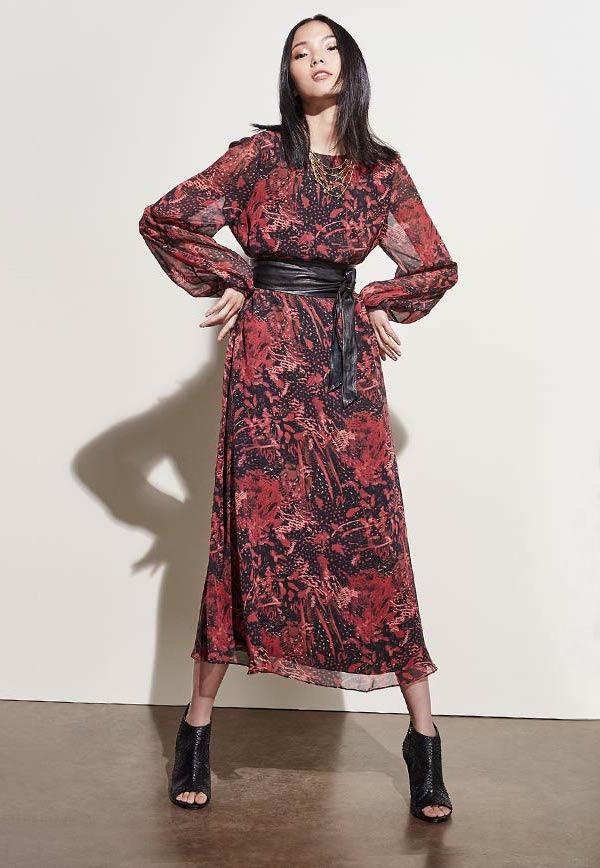 IRO Aby Floral-Print Silk V-Back Midi Dress