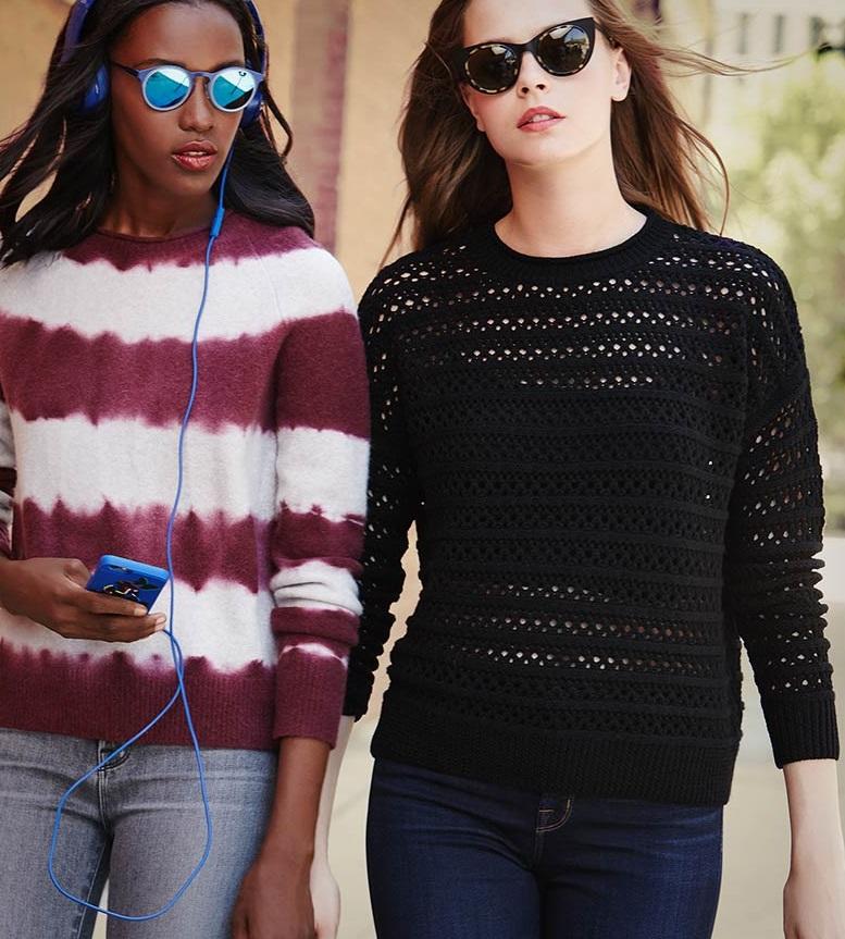 J Brand Jeans Mariposa Tie-Dye Striped Sweater