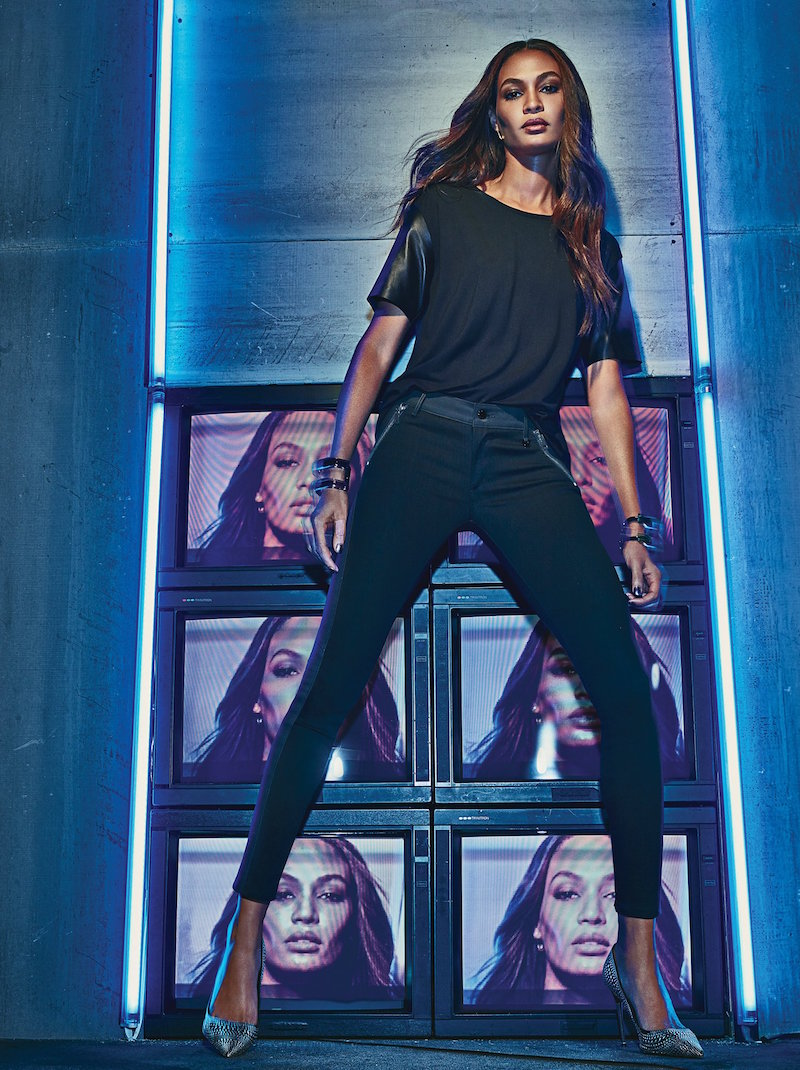 Joan Smalls for True Religion Mixed Media Tee with Leather Sleeves