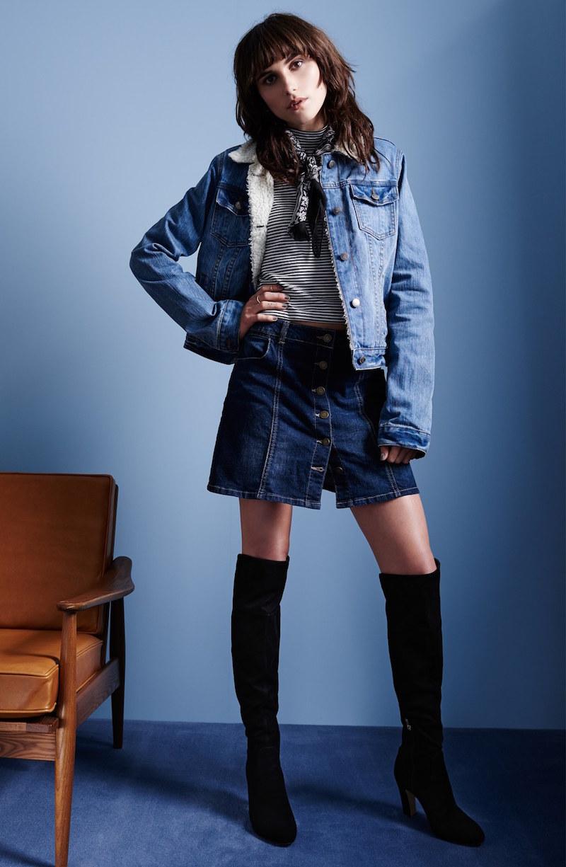 Jolt Button Front Denim Miniskirt