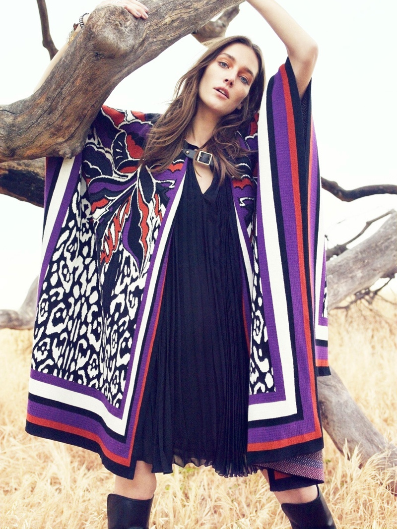 Just Cavalli 34-Sleeve Printed Poncho
