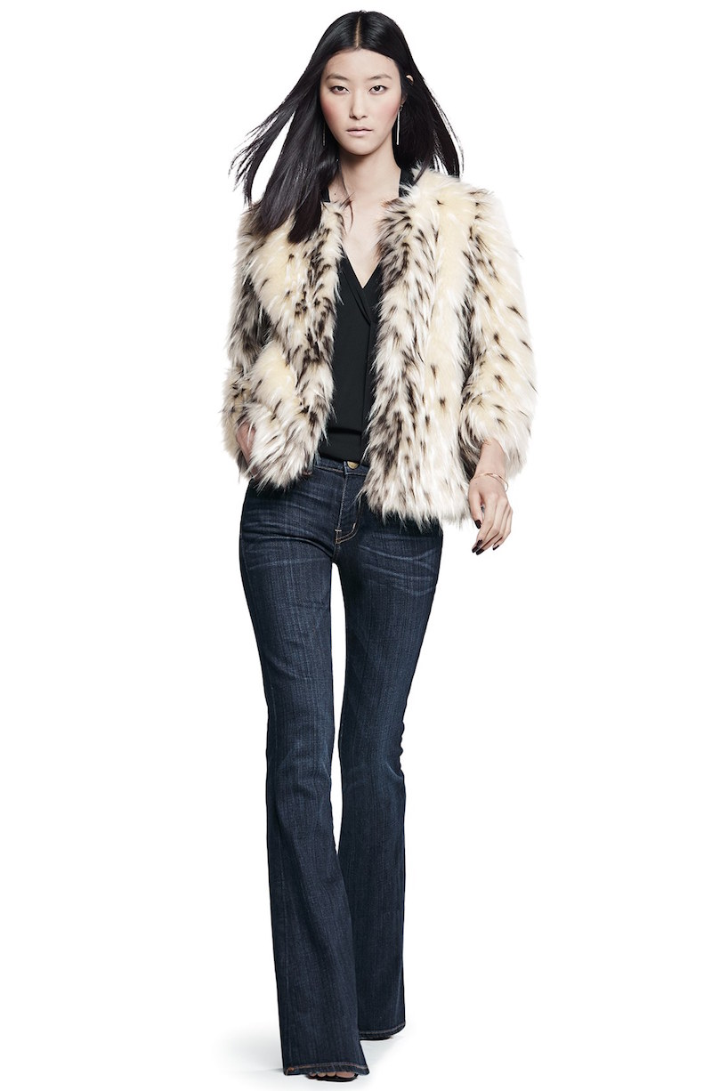 Kristen Blake Spotted Faux Fur Jacket