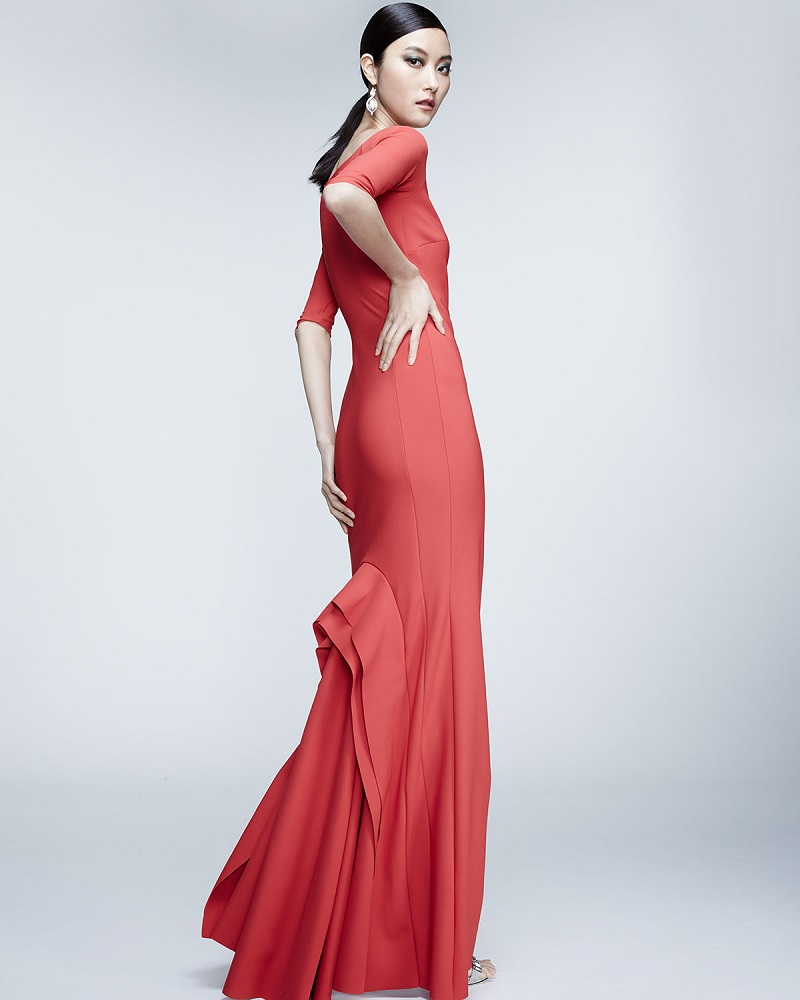 La Petite Robe di Chiara Boni Kimmy Half-Sleeve Mermaid Gown