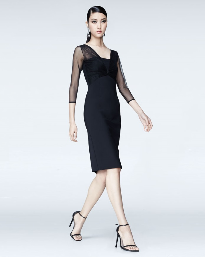 La Petite Robe di Chiara Boni Rosemarie 34-Sleeve Mesh-Top Dress