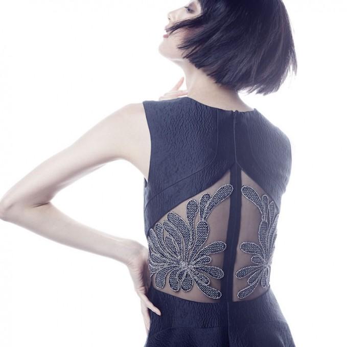 Lela Rose Crystal-Embroidered V-Neck Dress