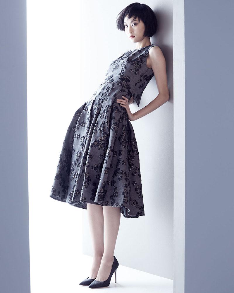 Lela Rose Floral-Jacquard Full-Skirt Dress