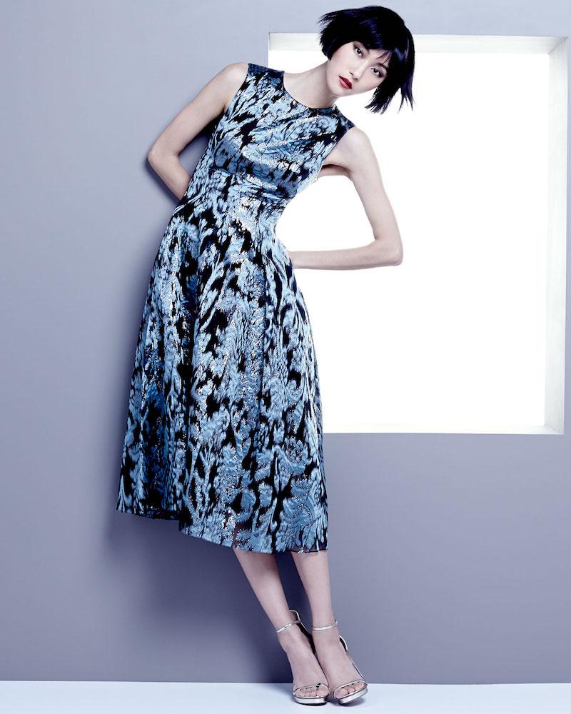 Lela Rose Ikat Brocade Full-Skirt Dress