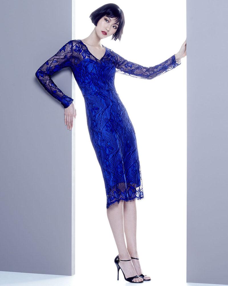 Lela Rose Scalloped Floral Lace Midi Dress