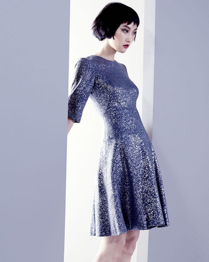 Lela Rose Tiered Metallic Elbow-Sleeve Dress