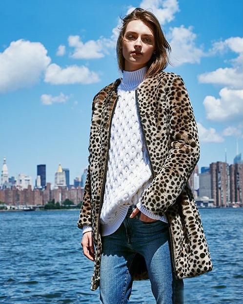 Loeffler Randall Long Cheetah Shearling Coat