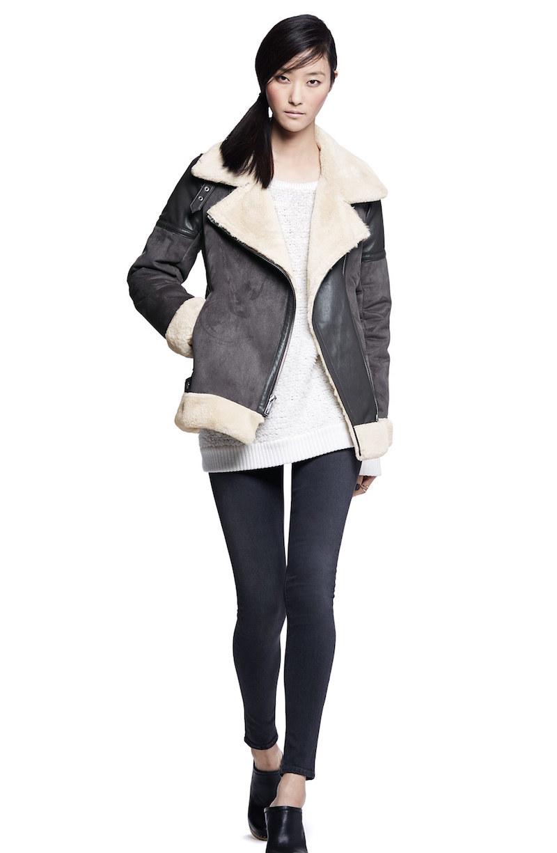 MICHAEL Michael Kors Asymmetrical Faux Shearling Moto Jacket