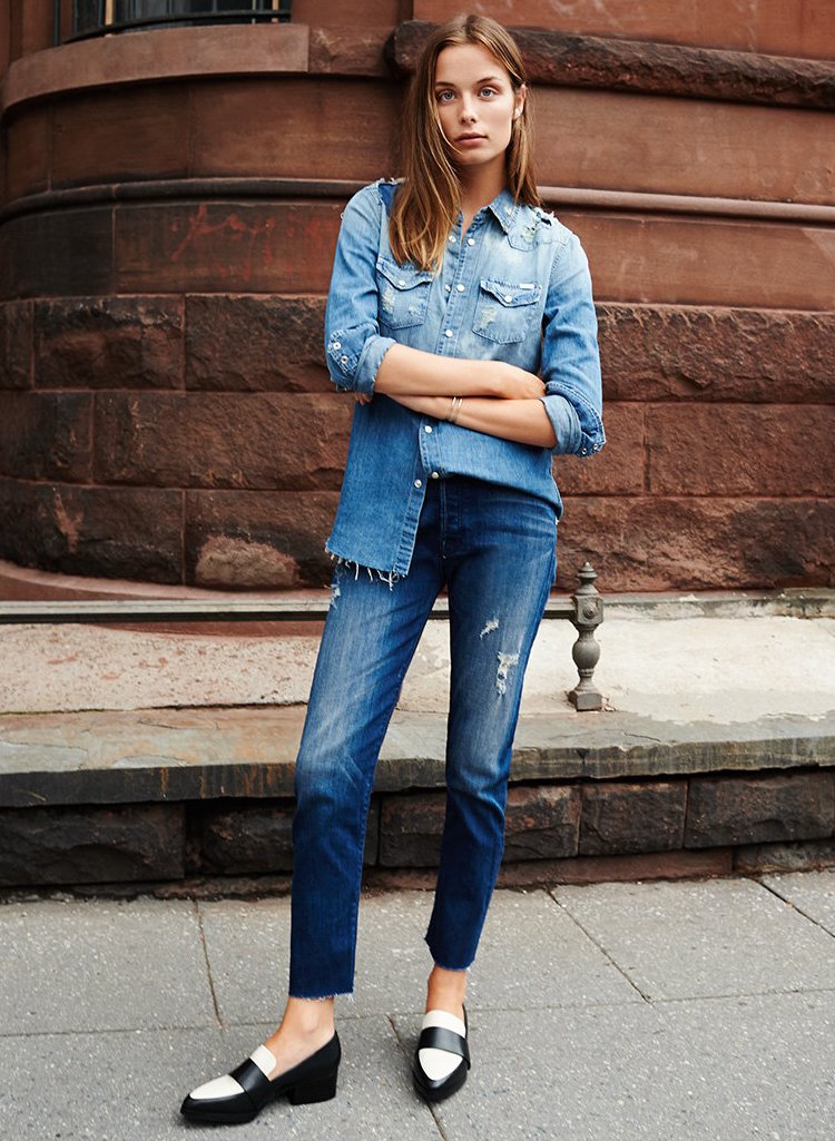 MOTHER The Double Fray Vagabond Jeans