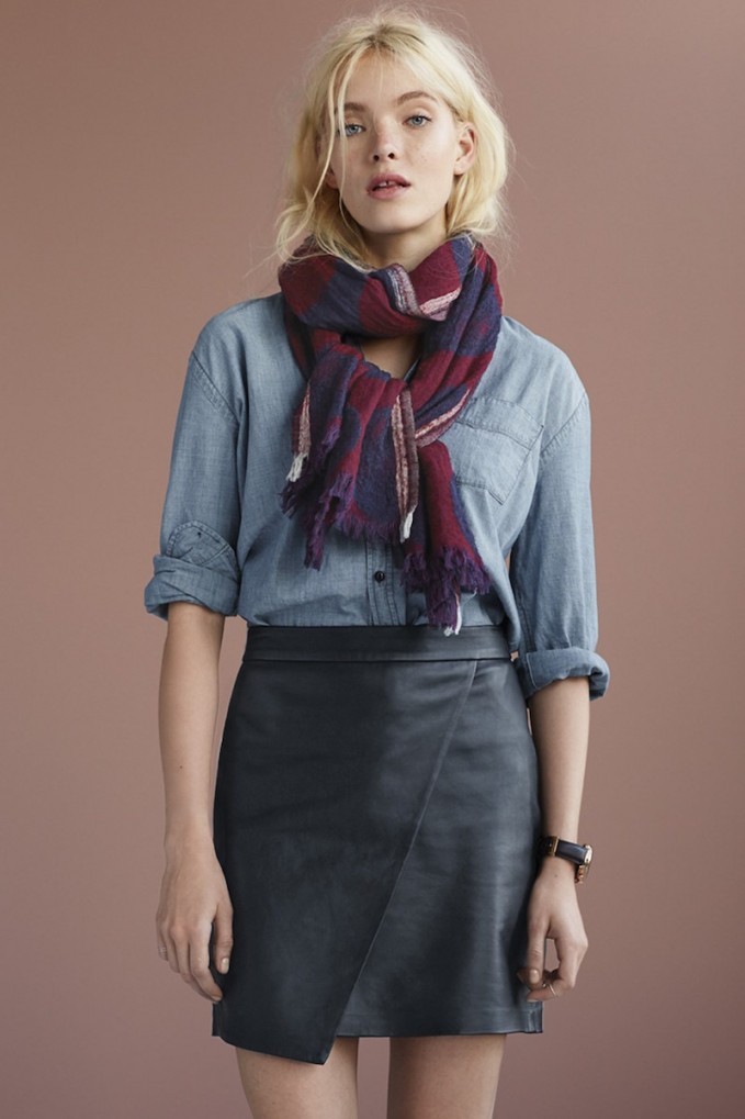 Madewell Leather Wrap Front Skirt