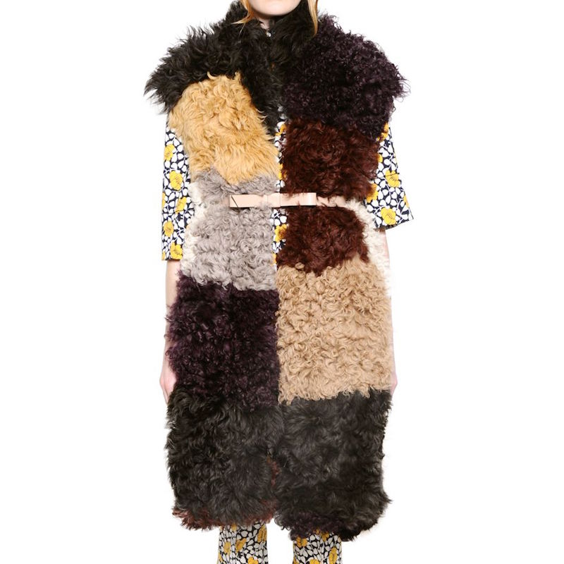 Marni Multi-Colored Patchwork Shearling Vest