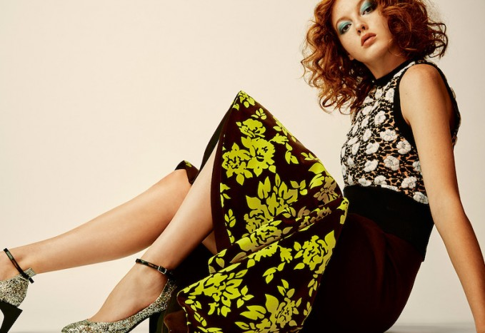 Mary Katrantzou Caladown Silk Contrast Trumpet skirt