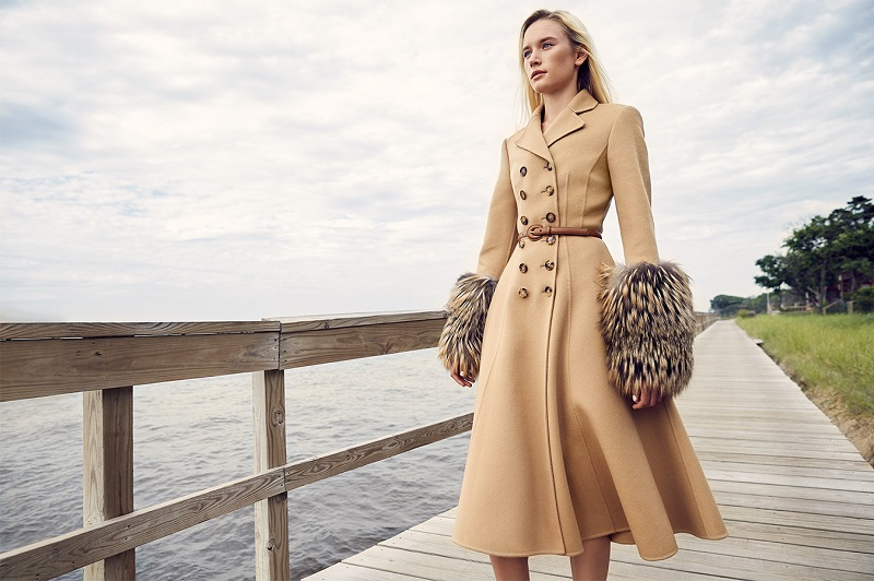 Michael Kors Collection Double-Face Wool & Fox Fur Princess Coat