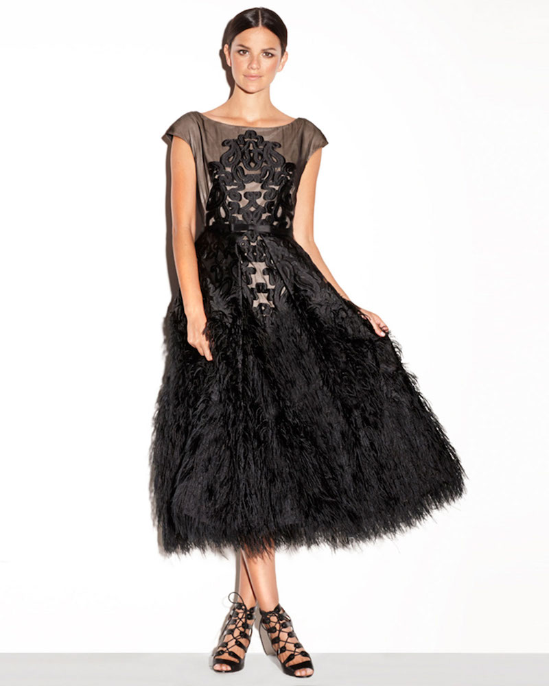 Milly Embroidered Tea-Length Feather Dress