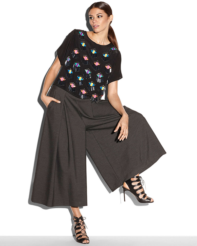 Milly High-Waisted Pleated Double-Face Culottes