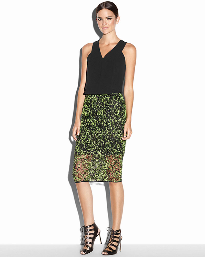 Milly Neon Floret Webbing Skirt