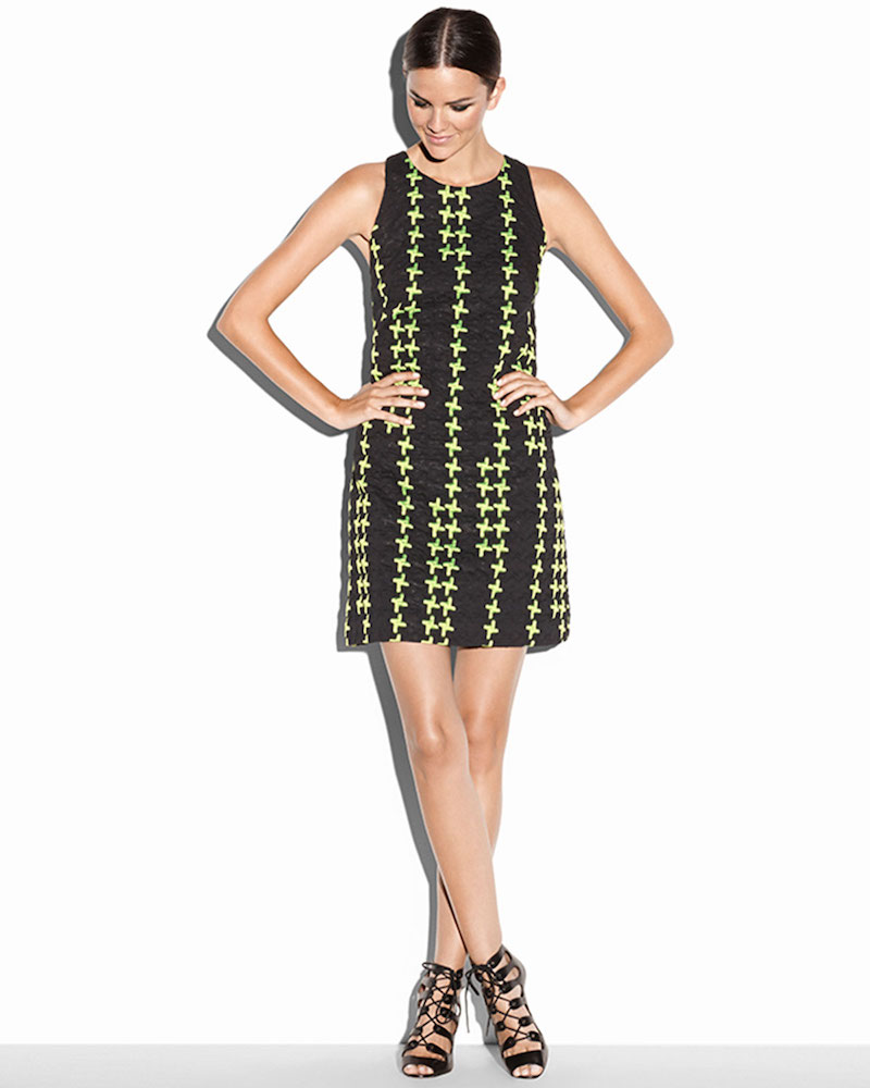 Milly Sleeveless Crosshatch Shift Dress