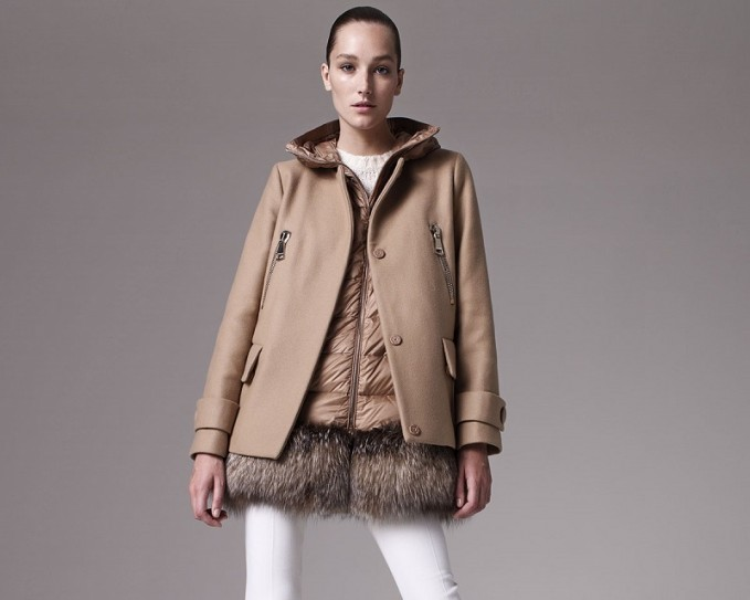 Moncler Fenelon Two-Piece Fur-Hem Coat