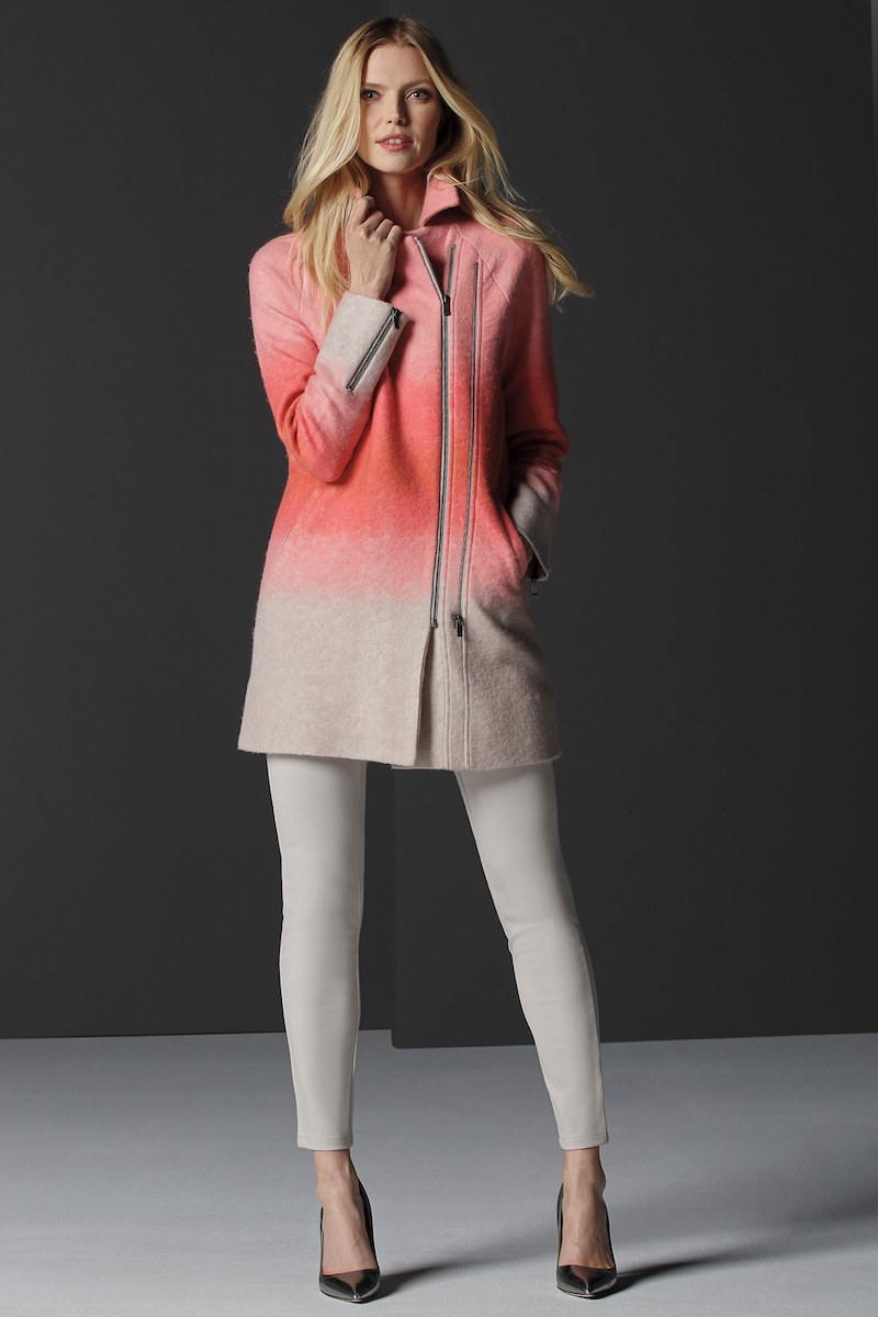 NIC+ZOE Bold Blush Asymmetrical Zip Coat