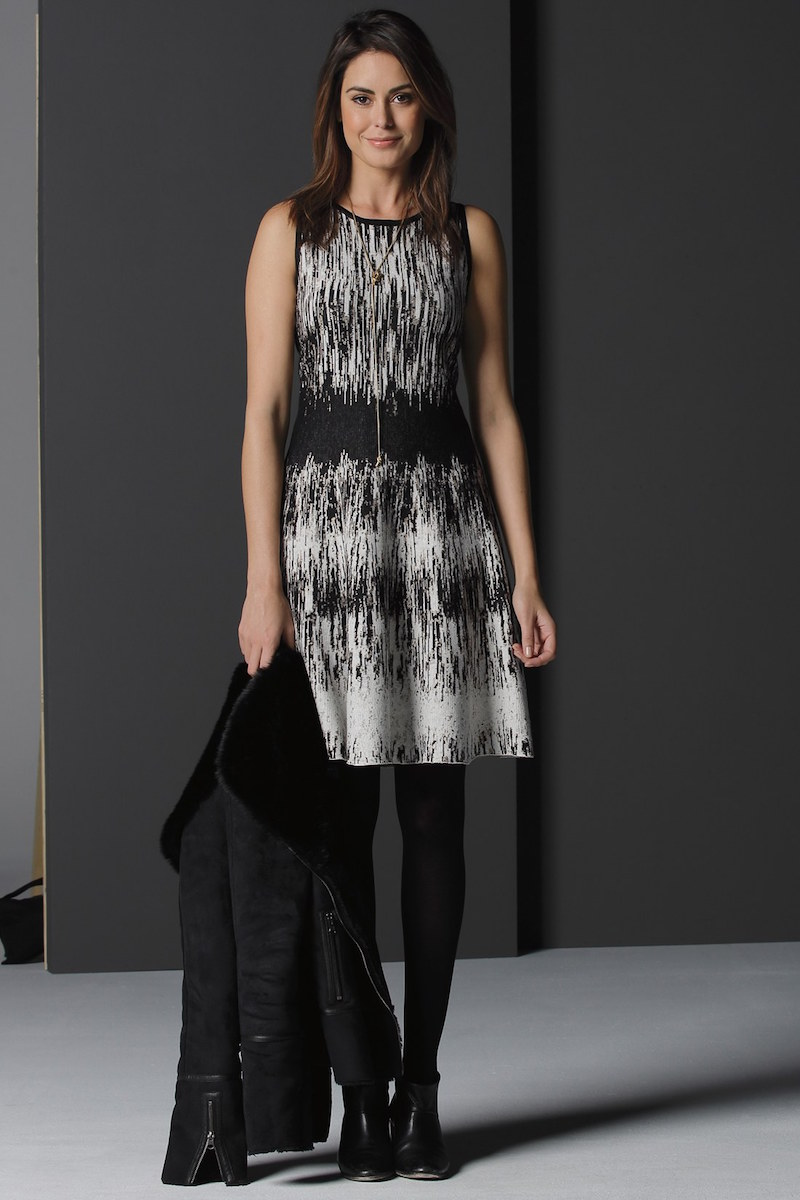 NIC+ZOE Falling Lines Twirl Jacquard Knit Dress