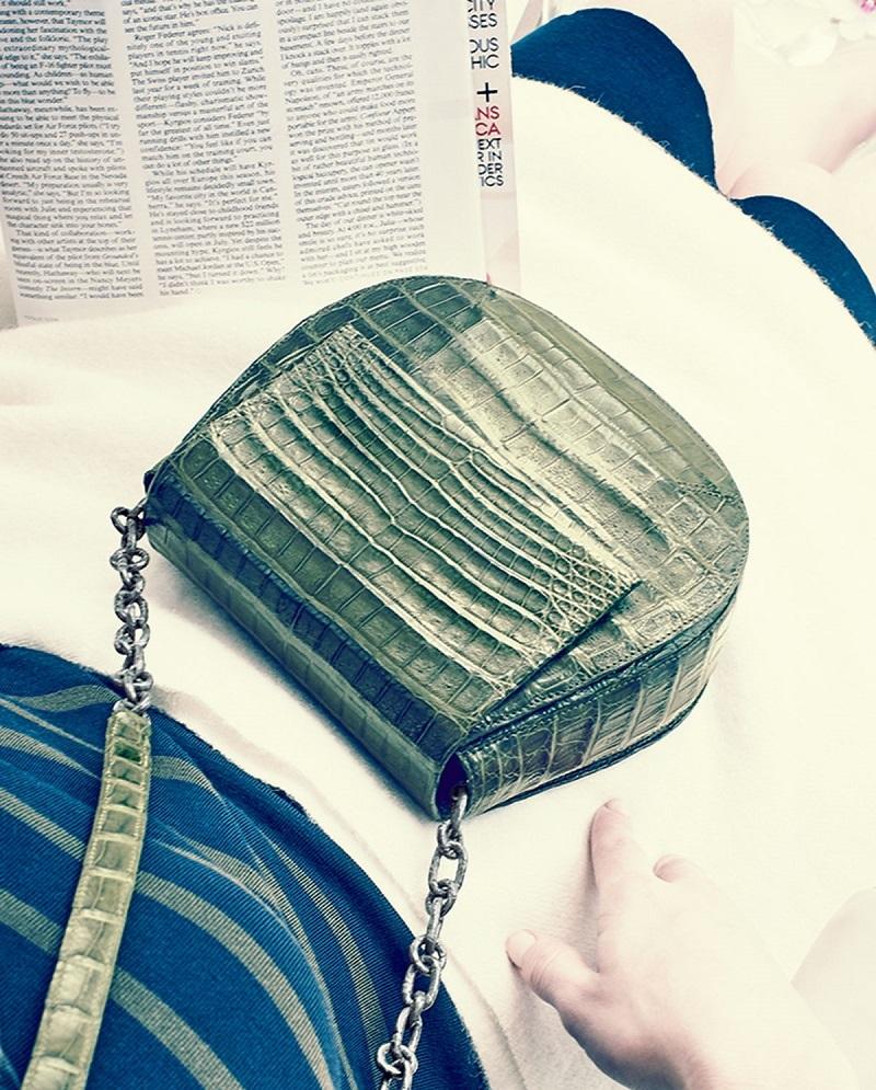 Nancy Gonzalez Round Flap-Top Crocodile Crossbody Bag