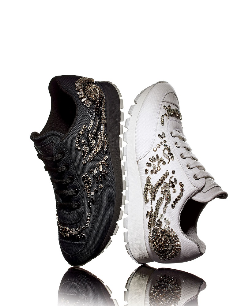 Prada Crystal-Embellished Nylon Trainer