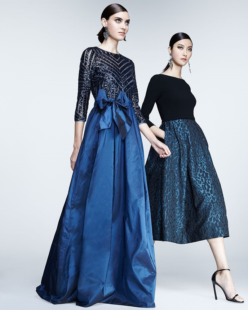 Rickie Freeman for Teri Jon 34-Sleeve Sequined & Taffeta Gown