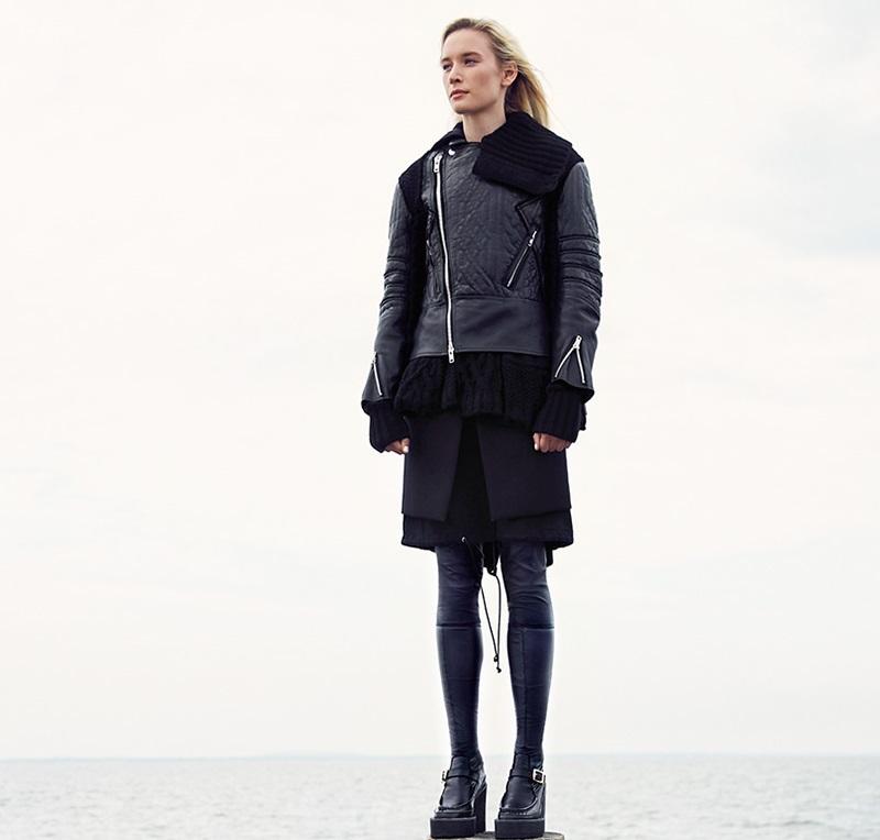 Sacai Leather & Cable-Knit Moto Jacket