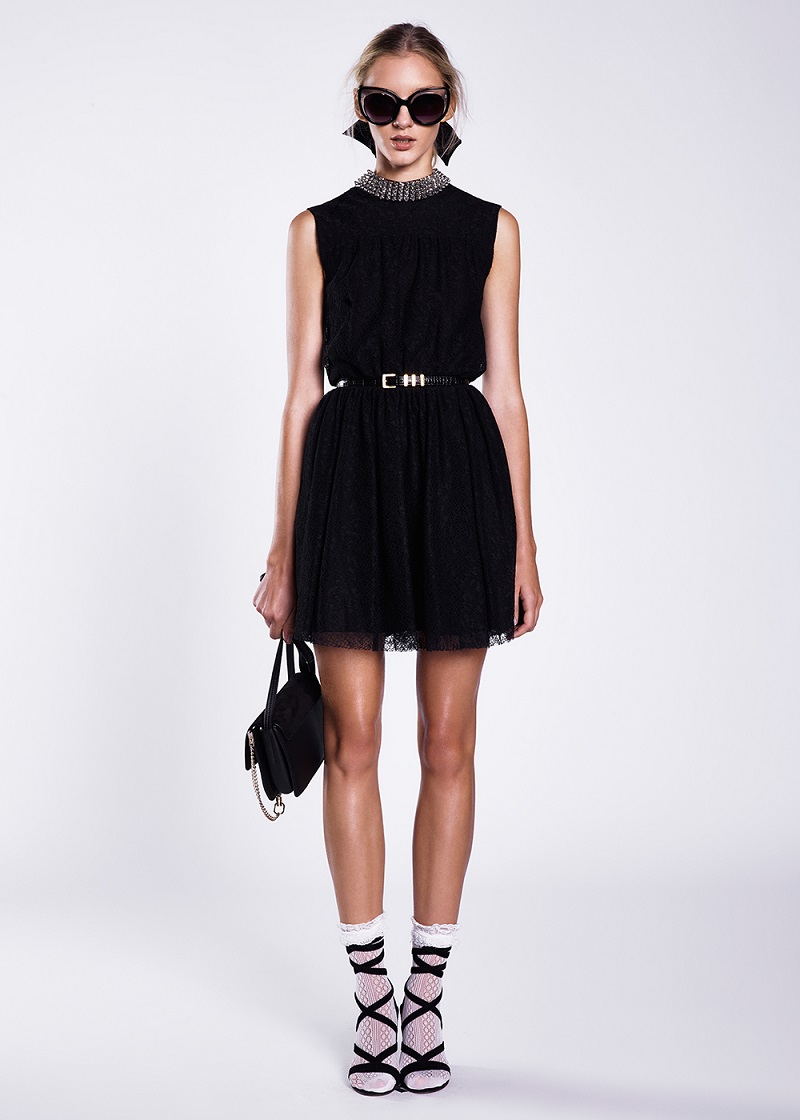 Saint Laurent Embellished Neck Lace Dress