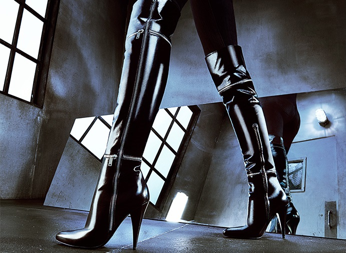 Saint Laurent Zippered Leather Over-The-Knee Boots