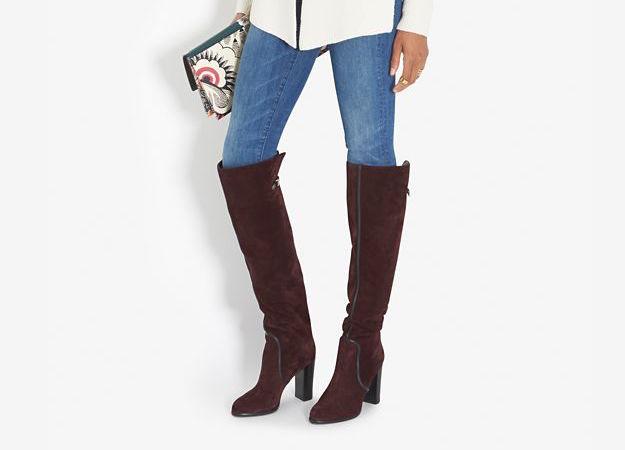 Sergio Rossi Shannen Knee-High Chunky Heel Buckle Boot