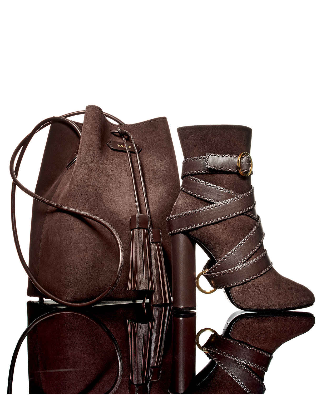 TOM FORD Belted Suede Ankle Boot