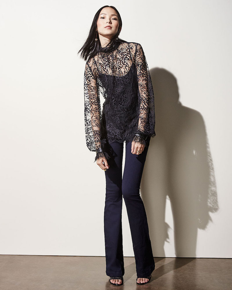 Tamara Mellon Butterfly Lace Turtleneck Blouse