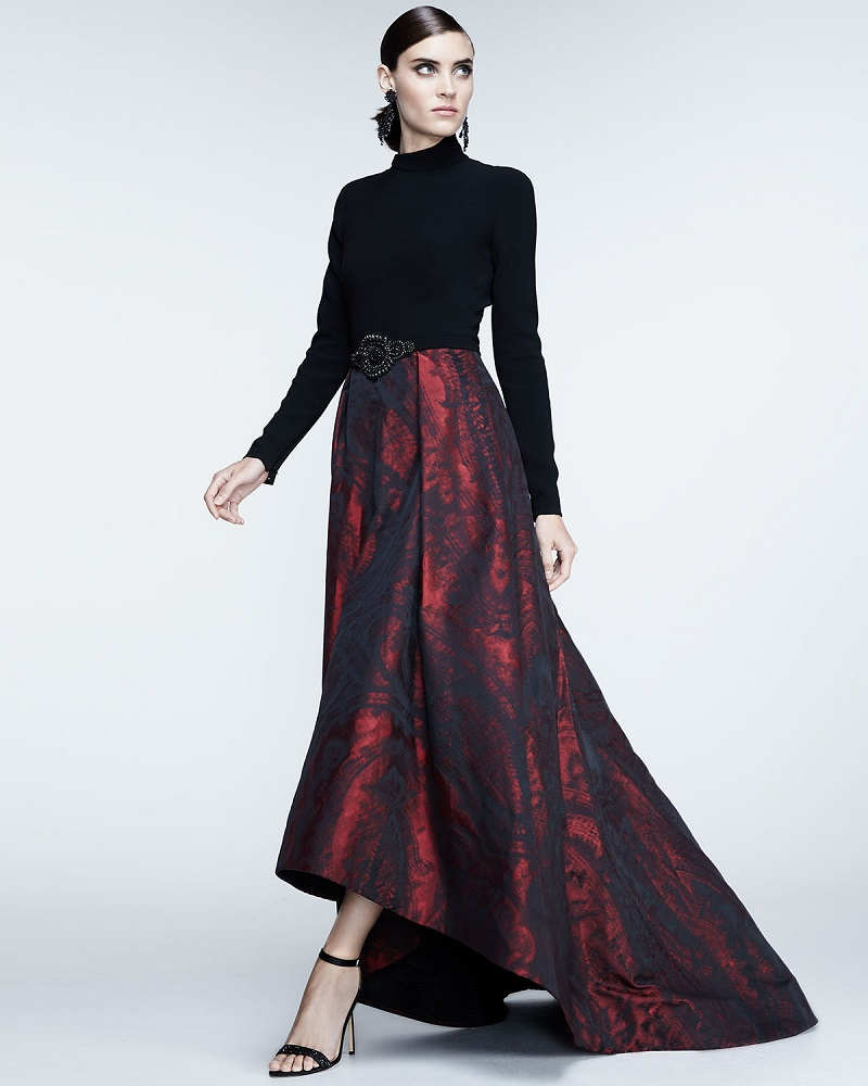 Theia Long-Sleeve Mock-Neck Combo Gown
