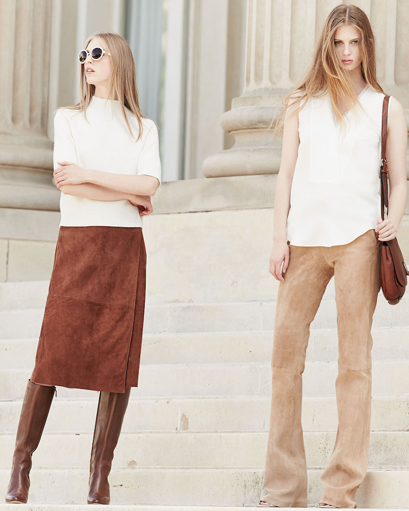 Theory Gantrima Suede Wrap Skirt
