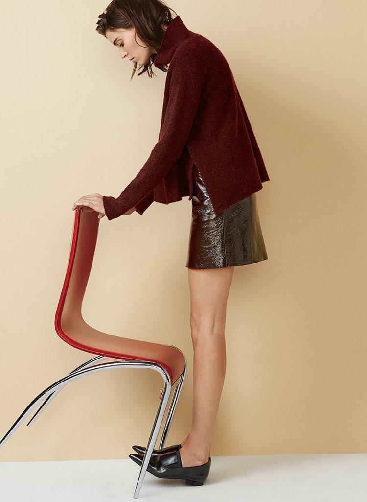 Theory Polished Leather Berdin L Skirt