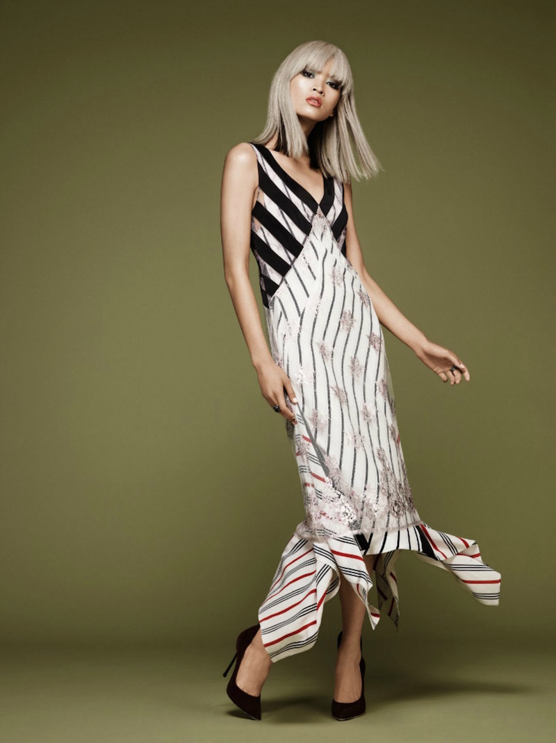 Tome Foiled Stripe Lace Dress