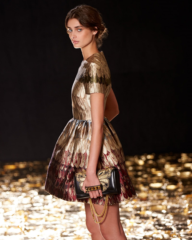 Valentino Angel Wings Brocade Fit-And-Flare Dress
